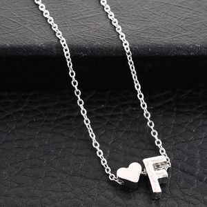 Jewelry - Dainty Silver Heart & F Initial Charm Necklace